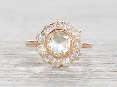 Rose cut diamond and rose gold Edwardian engagement ring