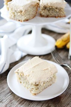 Easy Banana Cake with Peanut Butter Frosting Recipe on twopeasandtheirpod.com A great recipe for using up your brown bananas! #cake #banana