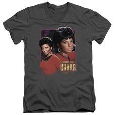 Star Trek/Lieutenant Uhura Short Sleeve Adult T-Shirt V-Neck in Charcoal