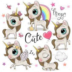 Set of Unicorns Isolated on a White - Animals Characters Cartoon Unicorn, Baby Unicorn, Unicorn Art, Cartoon Mignon, Cupcake Illustration, Balloon Cartoon, Baby Girl Clipart, Unicorn Pictures, Pony Horse