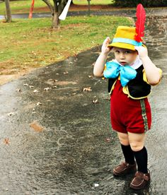DIY Pinocchio Halloween costume for toddler boy! I love the chubby legs!