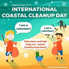 September 17 is the International Coastal Clean-up Day. Let's free our communities from solid wastes and promote sustainable consumption. #ClimatEducate . . . . #today #note #volunteer #help #youth #awesome #info #infographic #cute #cartoons #digital #art #planet #help #earth #sea #kids #young #coast #clean