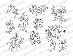 Digital Stamp / Embroidery Pattern Flowers por cottagebythepond