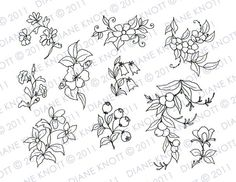 Digital Stamp / Embroidery Pattern - Flowers and Berry Sprigs