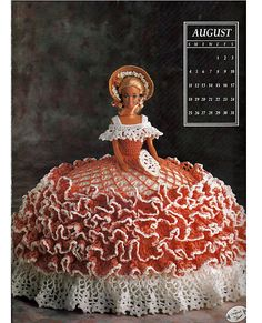 Miss August 1991 Annies Calendar Bed Doll Society  Fashion Doll  Crochet Pattern  Annies Attic 7408.