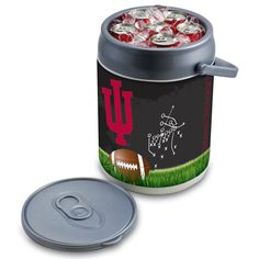 Picnic Time 690-00-000-675-0 Indiana University Hoosiers Football Digital Print Can Cooler in Silver/Gray