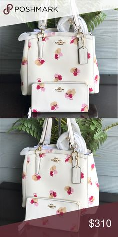 """New purse and wallet COACH MINETTA CROSSBODY IN FIELD FLORA PRINT COATED CANVAS Details: Inside zip and multifunction pockets Center zip compartment Snap closure, fabric lining Handles with 5 1/2"""" drop Detachable strap with 22"""" drop for shoulder or crossbody wear 11 1/2"""" (L) x 9 1/2"""" (H) x 4 1/4"""" (W)  Wallet details: Printed coated canvas Twelve credit card slots Full-length bill compartments Zip coin pocket Zip-around closure 7 1/2"""" (L) x 4"""" (H) Fits all phone sizes up to an iPhone 7 Plus…"""