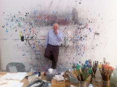 ✿ Ellsworth Kelly in his studio, 2012.  Photo by James Tarmy ( Source: atelierlog.blogspot.com ) ✿