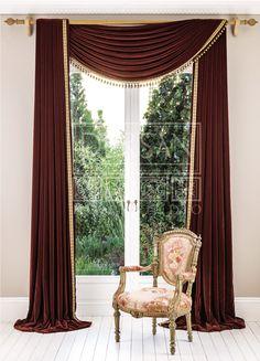 Tuscan style – Mediterranean Home Decor Unique Curtains, Luxury Curtains, Living Room Decor Curtains, Home Curtains, Home Room Design, Living Room Designs, Curtain Designs For Bedroom, Style Toscan, Rideaux Design