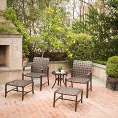 Brown Outdoor Patio Set 5 Pieces Willow Valley 2 Chairs 2 Footrests 1 Table New #Mainstays