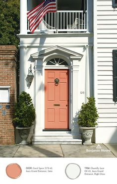 'Coral Spice' adds a touch of color to this home. Benjamin Moore, Aura Grand Entrance in Coral Spice, Satin.