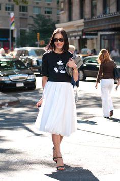 mickey marc jacobs #sweater x white midi skirt :: Eva Chen