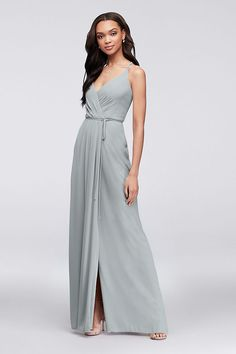 3b8b3d6db1f4 Double-Strap Long Georgette Bridesmaid Wrap Dress Style F19755, Ballet, 26. Davids  Bridal ...
