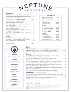 Menu — Neptune Oyster