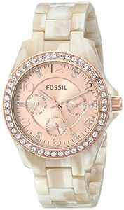 Fossil Riley Quartz Multifunction Dial Crystal Bezel Pearlized Resin Watch# ES3579 (Women Watch)