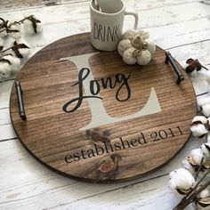 Personalized serving tray wood serving tray by CoastalCraftyMama Round Wooden Tray, Wood Tray, Serving Tray Decor, Wood Circles, Wood Rounds, Diy Wood Projects, Vinyl Projects, Woodworking Projects, Etsy