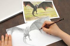 Drawing Drogon with Uni Hi-Uni pencils