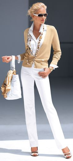 Beige and white...classic... lovely  like this