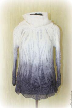 Купить Блузка - валяная блузка, воротник-снуд, валяная кофта, валяный джемпер, шелковая блуза