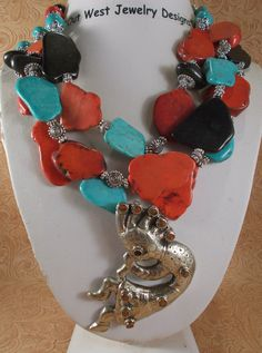 Cowgirl Necklace Set - Chunky Howlite Turquoise Slabs with a Handcrafted Coral Kokopelli Pendant - pinned by pin4etsy.com