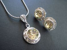Small Jonquil Yellow Swarovski Crystal Bridesmaid by KVEdesigns, $26.00