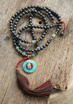 Beautiful hematite gemstone mala necklace - look4treasures on Etsy, $74.95