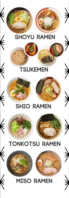 Varieties of Japanese ramen noodles
