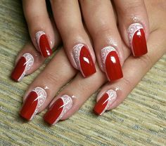 Feather Nail Designs, Feather Nails, Red Nail Designs, Nail Polish Designs, Acrylic Nail Designs, Elegant Nail Designs, Elegant Nails, Stylish Nails, Gorgeous Nails
