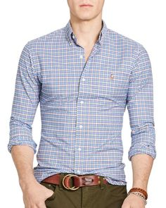 Polo Ralph Lauren Checked Stretch Oxford Slim Fit Button Down Shirt