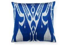 Ikat 20x20 Silk Pillow, Blue/Gray