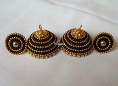 Silk Thread Jhumkas, Silk Thread Bangles Design, Silk Thread Necklace, Thread Jewellery, Gota Patti Jewellery, Jewelry Crafts, Handmade Jewelry, Paper Quilling Jewelry, Jewelry Making Tutorials
