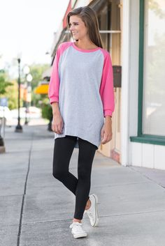 Slouchy Dolman Raglan Tunic, Gray-Pink $24 Item #: 59229