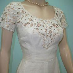 Vintage 50s Dress / Samuel Winston by Roxane Cream Cutout Lace Dress / Wedding Dreams