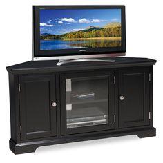 Leick Black Hardwood Corner TV Stand, 46 Inch