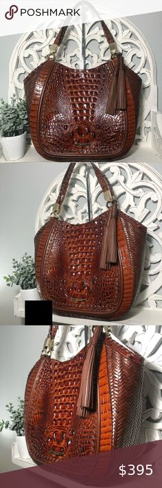 """Brahmin Marianna Tote Pecan Ross Woven Leather Brahmin Marianna Tote Pecan Ross  NWT (New with tag, dust bag, registration card)  Style: P54136900004  Color: Pecan Ross (an artisanal combination of our signature Pecan Melbourne leather with intricate woven details and whipstitching)  Retail: $415.00  Details:  Open tote with hidden magnet closure Back slide in pocket for a phone Interior zip pocket, two organizer pockets, pen pocket, jewelry pocket, key clip Dual handles 9.5"""" drop Measures… Brahmin Handbags, Dust Bag, Satchel, Artisan, Tote Bag, Leather, Fashion Trends, Color, Accessories"""