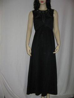 Long Black Vintage Dress Evening Classic by 2nuttygirlz on Etsy, $50.00