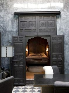Secret lair... I love small door entrance to a big room with tall ceilings <3