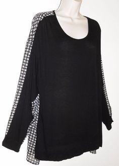 Bobeau Nordstrom 3X Knit Top Black White Semi Sheer High Low Plus Shirt #Bobeau…