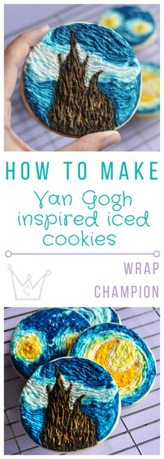 Step by step cookie icing guide to make these cracking Van Gogh inspired Starry Night cookies