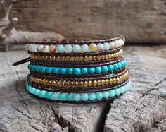 Mix Blue Tone Brass Cube 5 Wrap Leather Bracelet, coconut button