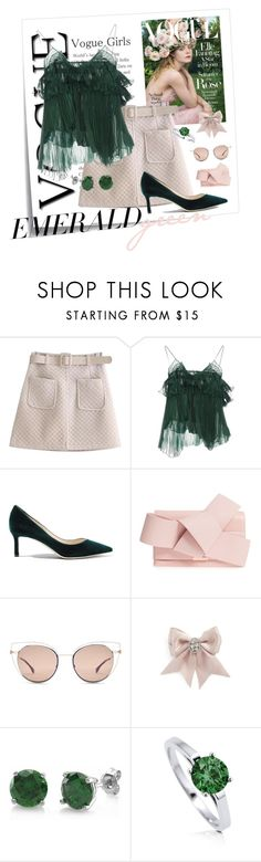 """Emerald and Blush"" by whenlifegivesyoulemonsandlimes ❤ liked on Polyvore featuring Post-It, WithChic, Rochas, Jimmy Choo, Ted Baker, Fendi, Tasha and BERRICLE"