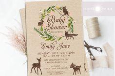 Woodland Baby Shower Invitation, Woodland Baby Shower, Woodland Invitation…