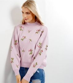 Shell Pink Floral Embroidered Sweater | New Look