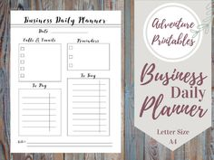 Business Printable Planner PDF Form, Productivity Planner, Daily Business Plan- Sizes A4 ans Letter Size  Make you days easier with this amazing daily and weekly planner pack!  WHATS INCLUDED:  ► PDF Printable Planner ► 2 Sizes: A4 and Letter Size   Visit The Shop: https://www.etsy.com/shop/AdventurePrintables ---------------------------------------------------------------------------------------------------------  One Day At A Time Daily Planners: http://etsy.me...