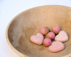 Love Hearts and Felted Acorns Valentines Day, Needle Felt Wool Love romantic gift home decor blushing baby Gift for Mom Wife Decorating. $23.00, via Etsy.