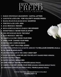 The official list from the Fifty Shades Freed soundtrack! 20. JAMIE DORNAN