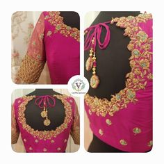 Bridal blouse with handmade tassels. Stunning pink color designer blouse with floret lata design hand embroidery gold thread work on neckline and sleeves. Cutwork Blouse Designs, Kids Blouse Designs, Wedding Saree Blouse Designs, Half Saree Designs, Saree Blouse Neck Designs, Simple Blouse Designs, Sari Blouse, Indian Blouse, Maggam Work Designs