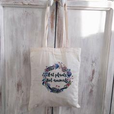 Canvas tote bag cotton eat plants not animals vegetarian vegan