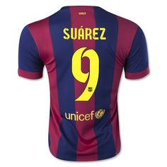 d1ebfe91599 Men s 2014 15 FC Barcelona Luis Suárez 9 Red Blue Home Soccer Jersey  Barcelona