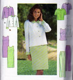 Simplicity 7971, Misses Size 10, 12 and 14, Long or Short Sleeve Jacket, Scoop Neck Top and Semi Fitted Dress, Pull On Pleated Front Pants by OnceUponAnHeirloom on Etsy